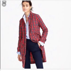 Nwot j.crew gingham trenchcoat in red